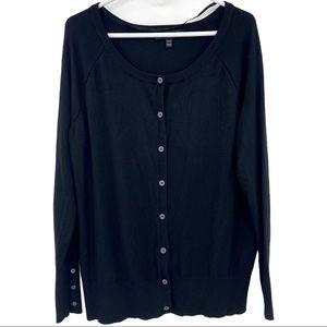 Lane Bryant Black Knit Button Cardigan Sweater